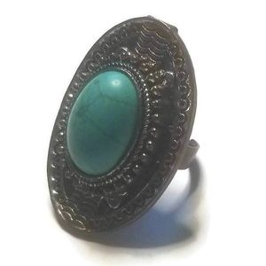 Dyed Howlite Large Stone Detailed Statement Ring
